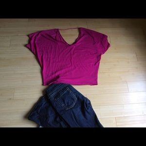 Express Fuchsia, V-Neck Shirt