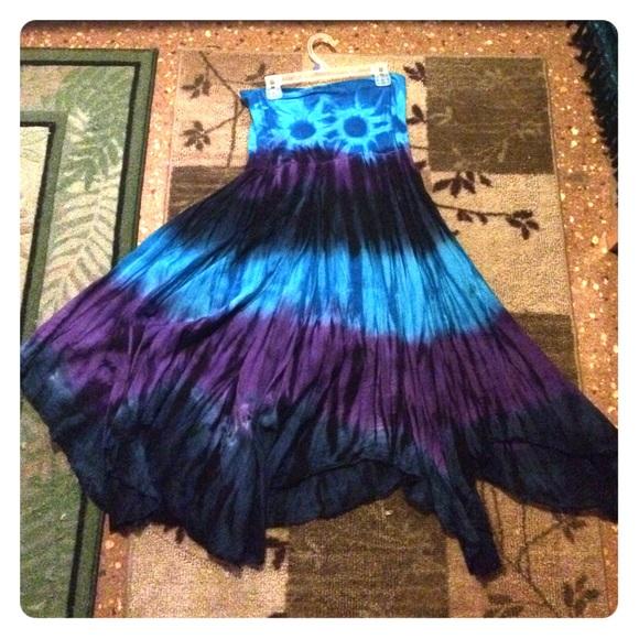 40 dresses skirts blue and purple tie dye skirt