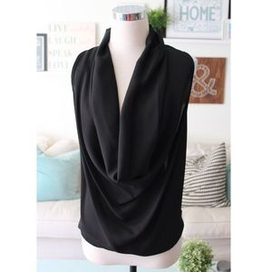 Black Cowl Neck Lace Back Top