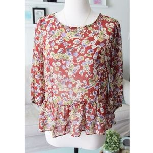 Peplum Floral Fall Blouse