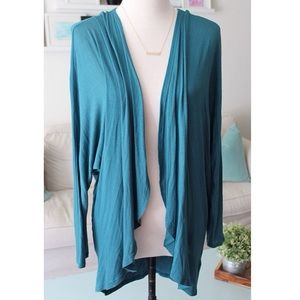 Painted Threads Sweaters - Teal Drapey Cardigan