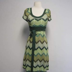 NWT BCBG MaxAzria Green Knit Zig Zag Wrap Dress