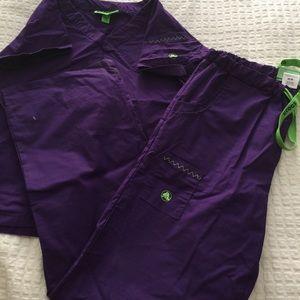 Dark purple with neon green scrub set