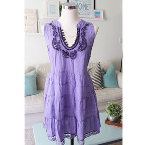 FREE PEOPLE-Lilac Embellished Peasant Style Dress