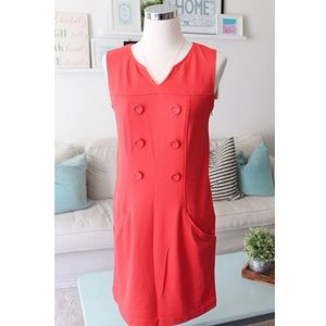 Red Button Shift Dress