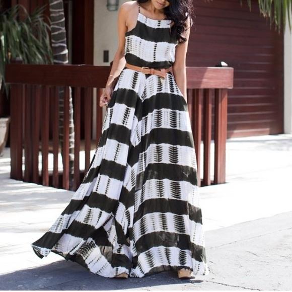 Line & Dot Dresses & Skirts - Line and dot shibori dye maxi - xs