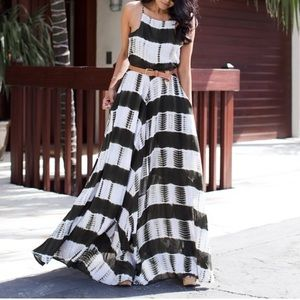Line and dot shibori dye maxi - xs