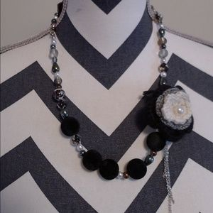 (Handmade) Statement necklace with ribbon