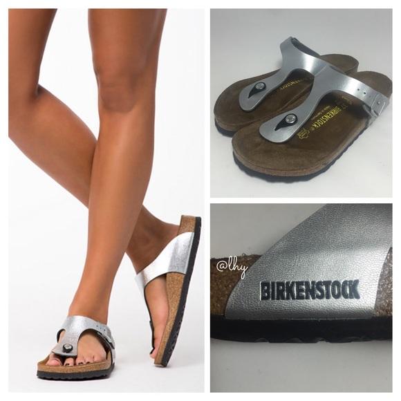 silver gizeh birkenstock