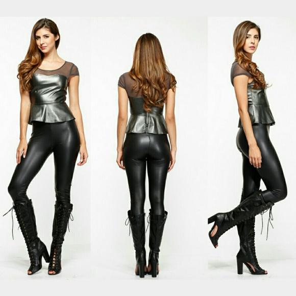 bfb0caae471f7 See You Monday Pants   Black Faux Leather Leggings   Poshmark