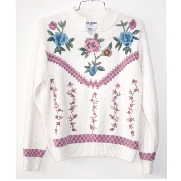 Alfred Dunner Tops Cozy Embroidered Floral 90s Sweater Sz M Poshmark