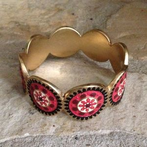 Lucky Brand Bohemian Red & Gold Bangle Bracelet