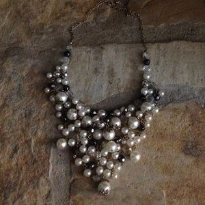 Pearl and Grey Gold-tone Bib Necklace
