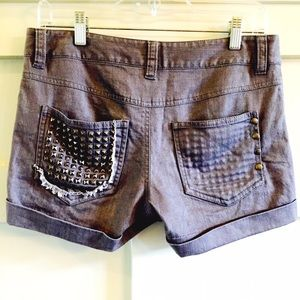 Alice + Olivia Pants - Alice + Olivia grey studded denim shorts NWOT
