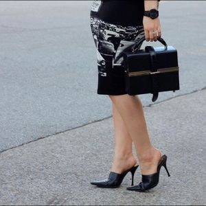 Alligator Embossed Black Mule Heels