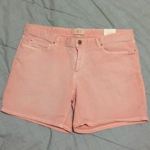Peach colored shorts from Zara