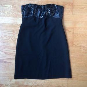 Ann Taylor LBD Sequin/Chiffon Strapless Dress Sz12