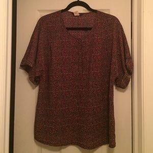 Short Sleeve J.Crew Printed Blouse