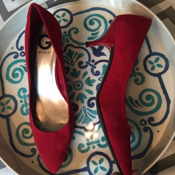 75% off G by Guess Shoes - G by GUESS- red suede kitten heels from