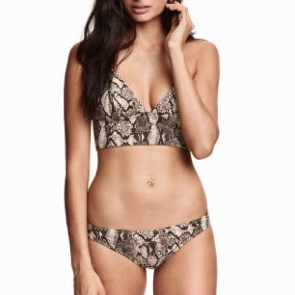 c3baeb90fd Snakeskin Crop Top Bra Bikini Top Bralette S M