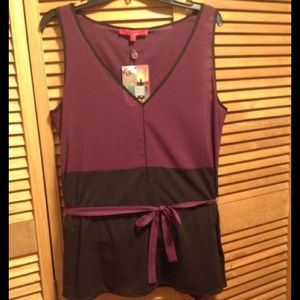 Narciso Rodriguez Tops - Maroon and Black Top with Belt