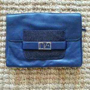 Diane von Furstenberg Handbags - REDUCED! DVF Navy Mimosa Clutch