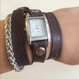 La Mer Slate Gray and Chain Wrap Watch