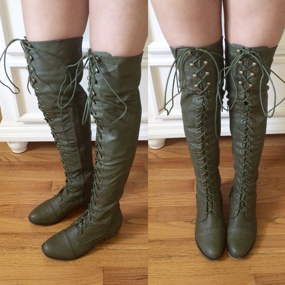 50% off Breckelles Boots - Thigh High Olive Green Combat Boots ...