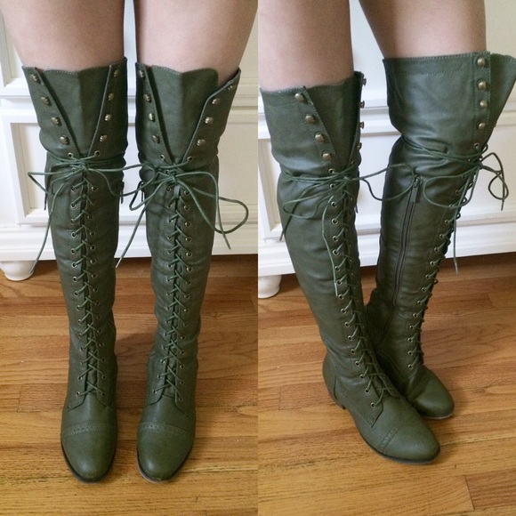 Thigh High Combat Boots - Cr Boot