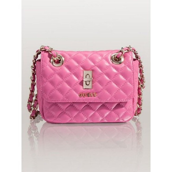 Guess Handbags - GUESS Quilted Leather Mini Bag (Pink) f44df8cb7cff7