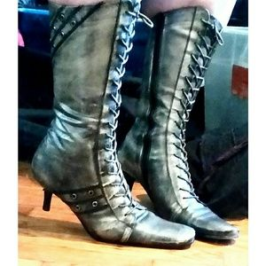 Leather Lace-up Kitten Heel Mid-Calf Boots