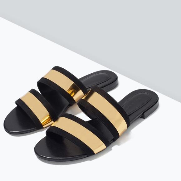 7ed64368630 Zara Shoes - ISO THESE - Zara Gold Shiny Slides Sandals
