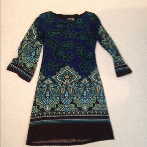 Size 2 blue, green, black, white dress by muse