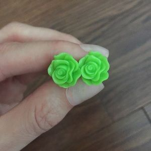 Lime green flower earrings