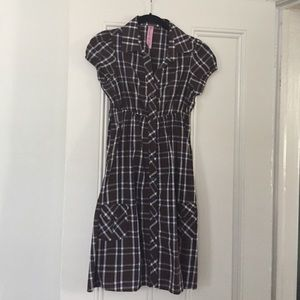 Brown and navy plaid collared dress