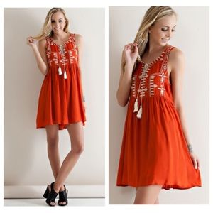 Rust Boho Embroidered Tunic Dress w/ Tassel