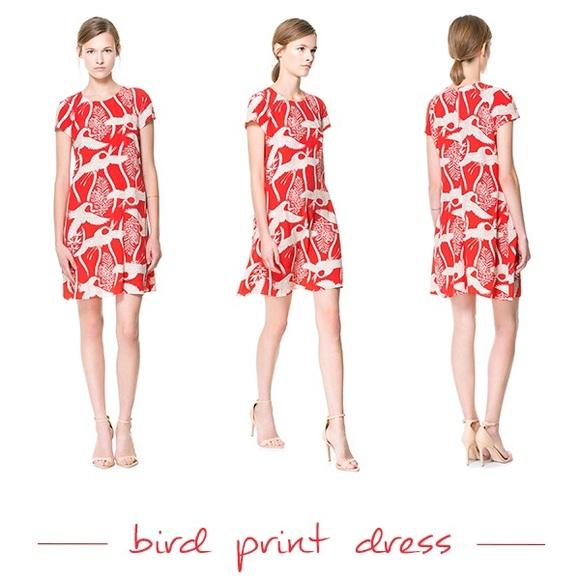 78d3d47f New Zara coral crane print keyhole flowy dress xs.  M_55be846da4a62c28f2012f44