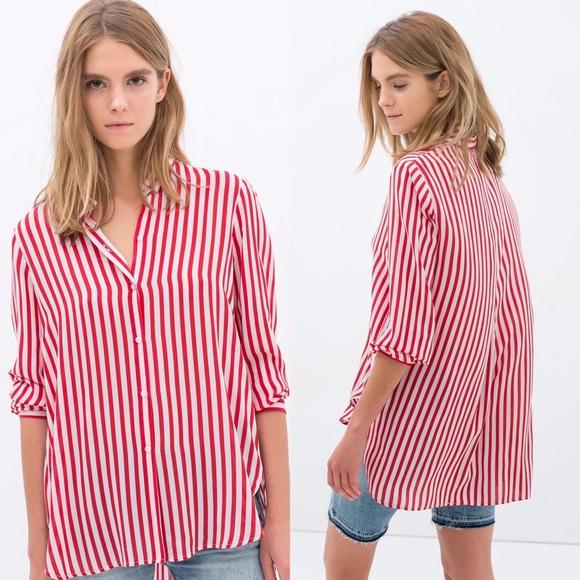 50 off zara tops zara red and white striped shirt from for Red and white striped button down shirt
