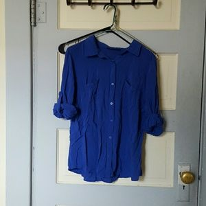 a.n.a Tops - Blue button down tee with pockets