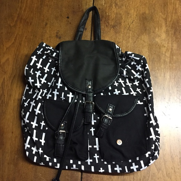10f82ba9e7 ... Hot Topic Black and White Cross Fashion Backpack buy online a1634 b4670  ...