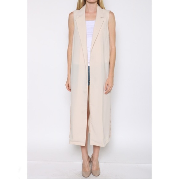 76% off Jackets & Blazers - Nude sleeveless double silt open long ...
