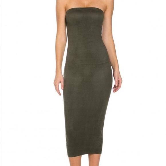 25b56b815d Dresses | Medium Olive Suede Khaki Midi Tube Bodycon Dress | Poshmark