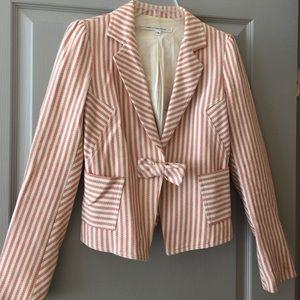 DVF striped blazer with bowtie accent