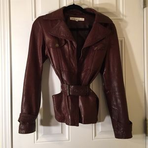 Kenneth Cole New York Belted Brown Leather Jacket