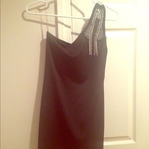 Black one shoulder stretchy dress above the knee