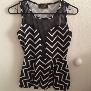 Charlotte Russe Tops - NWOT Sheer-paneled peplum top