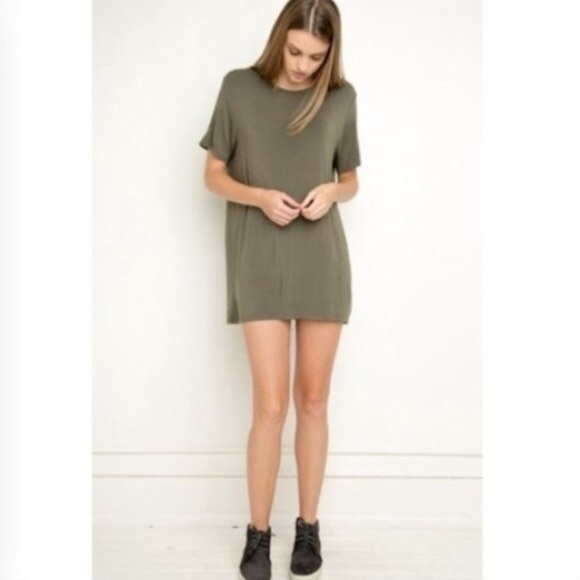07f1325207ac Brandy Melville Dresses | Army Green Tshirt Dress | Poshmark