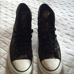 eb0eee3236d3 Converse Shoes - Black leather high-top converse w  gold accent