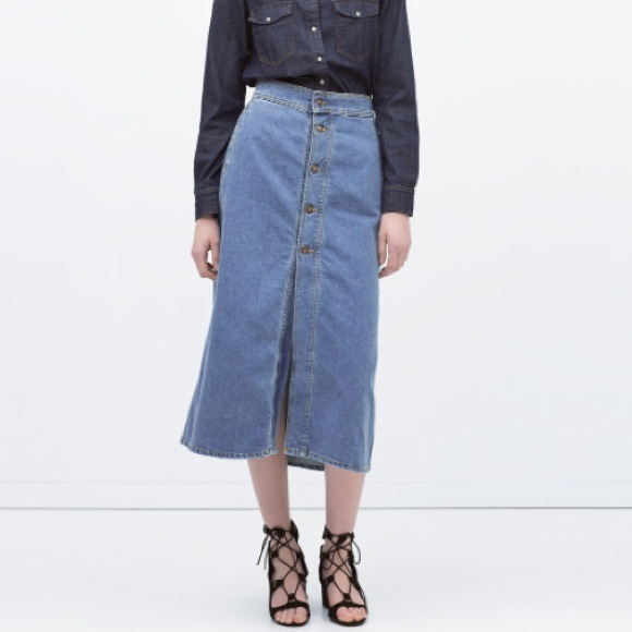 974207f0f8 Zara Skirts | Long Denim Skirt With Buttons | Poshmark