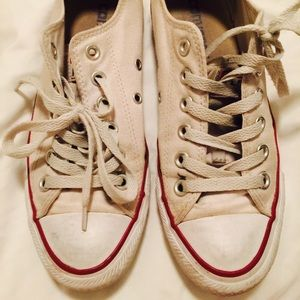 1aa8f93ebb54b1 Converse Shoes - White converse dirty broken in size 6.5